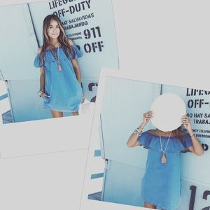 Sincerely Jules Fiona Bardot dress in chambray